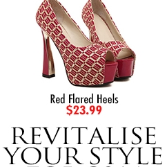 Red Flared Heels $23.99