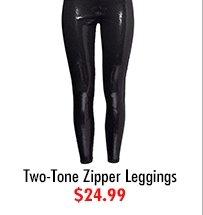 Two-Tone Zipper Leggings $24.99