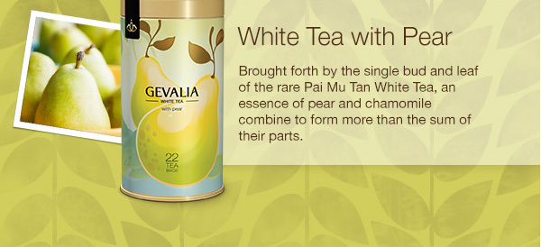 White Tea with Pear. Brought forth by the single bud and leaf of the rare Pai Mu Tan White Tea, an essence of pear and chamomile combine to form more that the sum of their parts.