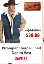 Wrangler Sherpa Lined Denim Vest