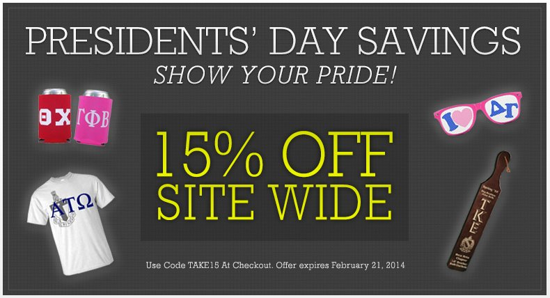 Presidents' Day Savings - Save 15% With Code TAKE15