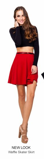 NEW LOOK Metal Plate Belted Waffle Skater Skirt - 39.90 SGD
