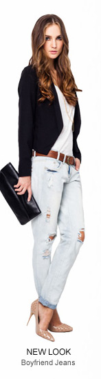 NEW LOOK Belted Ripped Boyfriend Jeans - 59.90 SGD