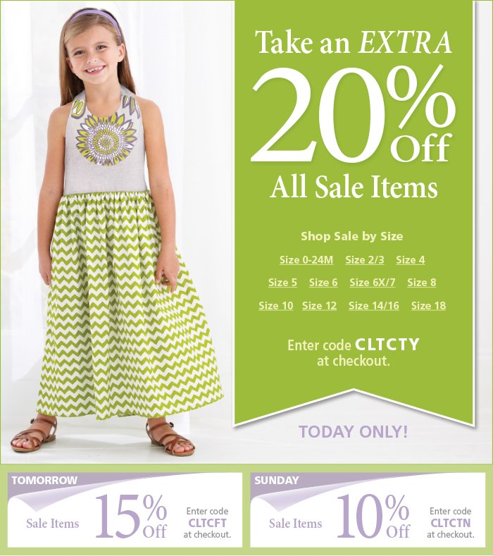 Take an extra 20% off all sale items with code CLTCTY at checkout
