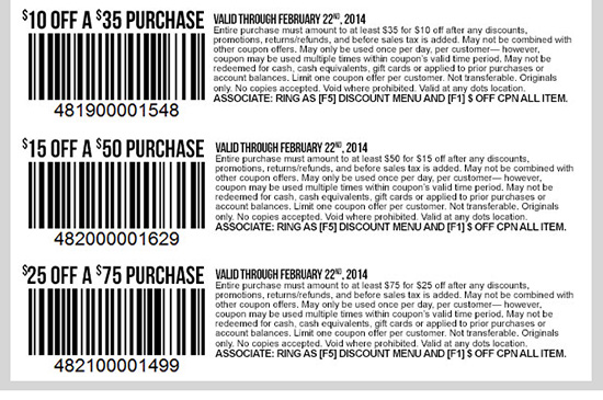 In-stores Only! Coupons just for you! Enjoy $10 OFF $35 Purchase or $15 OFF $50 Purchase or $25 OFF $75 Purchase! Shop dots!