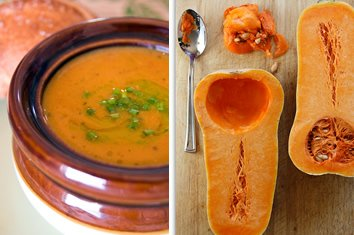 Roasted Sweet Potato and Butternut Squash Soup with Chive Oil