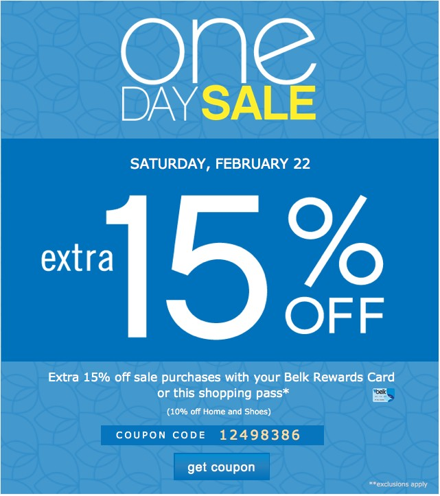 One Day Sale. Extra 20% off. Get coupon.