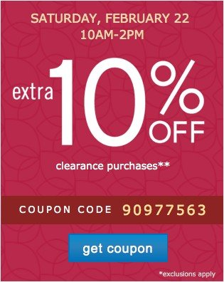 Extra 10% off Clearnce. Get coupon.