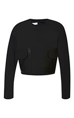 Long Sleeve Top With Leather Patch Pockets