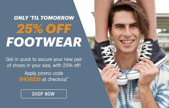 25% Off Footwear - Shop Now