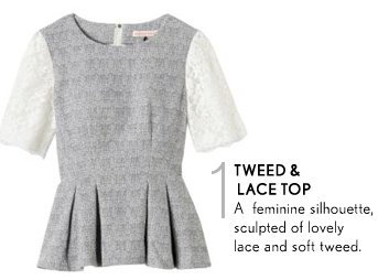 Lace & Tweed Top