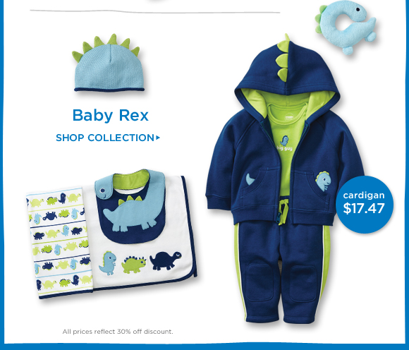Baby Rex. Shop collection. All prices reflect 30% off discount.