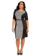 Striped & Blocked Ponte Sheath Dress