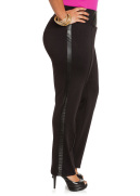 Faux Leather Trim High Waist Pants