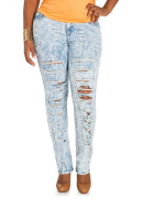 Ripped Acid Wash Skinny Jeans