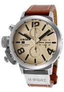 Men's Automatic Chronograph Beige Dial Brown Genuine Leather