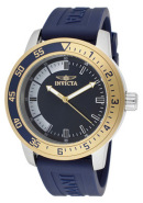 Men's Specialty Blue Dial 18k Gold Plated SS Bezel Blue Polyurethane