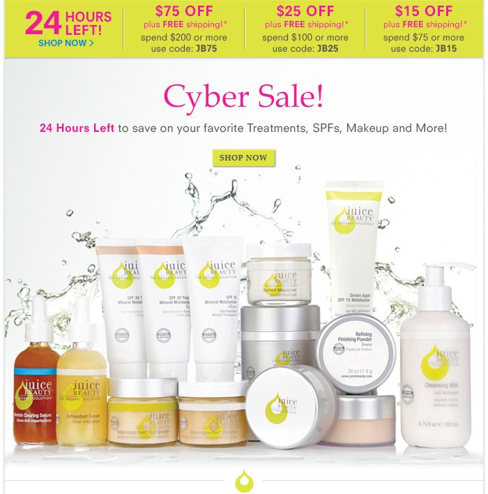 24 Hours Left to save on your favorite Treatments, SPFs, Makeup and More!