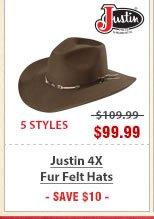 Justin 4X Fur Felt Hats