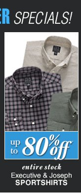 DOORBUSTER Executive & Joseph Sportshirts - Up To 80% Off*