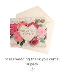 roses wedding thank you cards - 10 pack