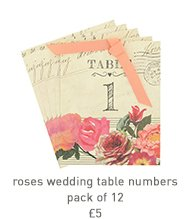 roses wedding table numbers - pack of 12