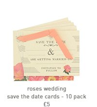 roses wedding save the date cards - 10 pack