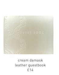 cream damask leather guestbook