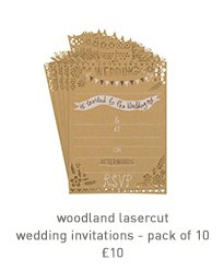 woodland lasercut wedding invitations-pack 10