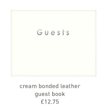 cream bonded leather guest book