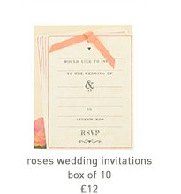 roses wedding invitations - box of 10