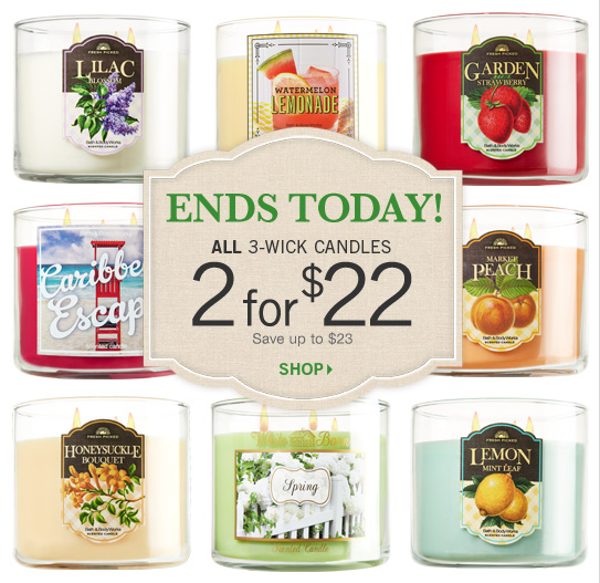 3-Wick Candles – 2 for $22