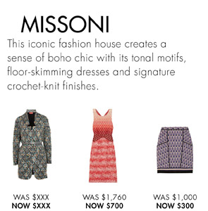 MISSONI UP TO 60% OFF