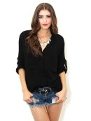 Bella Dahl Split Back Button Down In Black As Seen On Alessandra Ambrosio