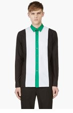 RAF SIMONS Black & Ice Grey Colorblocked Shirt for men