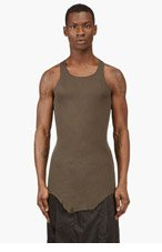 RICK OWENS Grey Racerback Raw Edge Tank Top for men