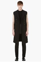 ALEXANDER MCQUEEN Black Sleeveless Double Breasted Coat for men
