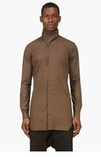 RICK OWENS Khaki Grey Stand Collar Button Down Shirt for men