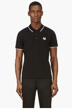 KENZO Black Tiger Logo Short Sleeve Polo Shirt for men
