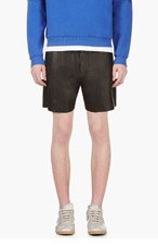 RICHARD NICOLL Black Leather Shorts for men
