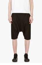 D.GNAK BY KANG.G Black Panelled Harem Shorts for men