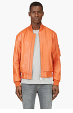 MCQ ALEXANDER MCQUEEN Orange Leather Bomber Jacket for men