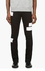KENZO Black White Graphic Jeans for men