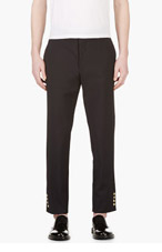 MONCLER GAMME BLEU Navy Wool Cropped Trousers for men