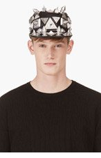 KTZ Black Oversize Stud Leather Patrol Cap for men