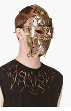 KTZ Brass Hinged Patchwork Mask for men