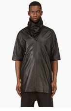 RICK OWENS Black Cowl Neck Lambskin Top for men