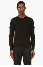 VERSUS Black & Lime Safety Pin sweater for men