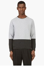 PAUL SMITH Heather Grey Contrast Panel Sweater for men