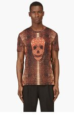 ALEXANDER MCQUEEN Orange Python Skull T-Shirt for men
